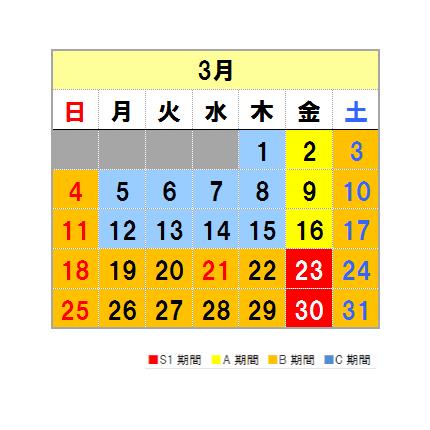 Fares calendar March
