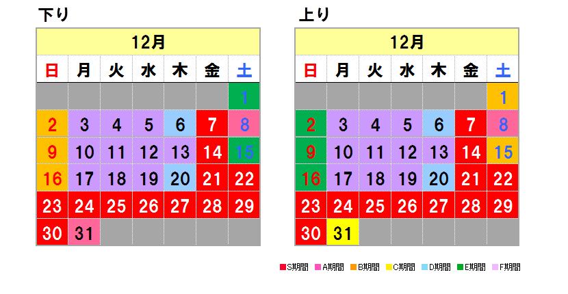 Fares calendar December