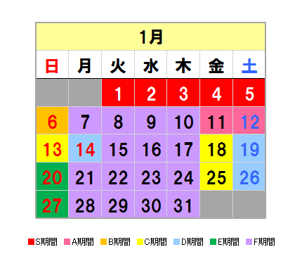 Fares calendar January
