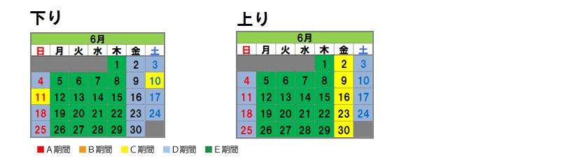 Nagoya system Fares calendar June