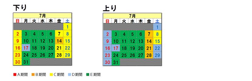 Nagoya system Fares calendar July