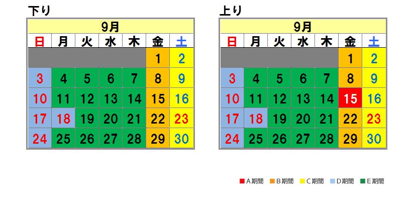 Nagoya system Fares calendar September