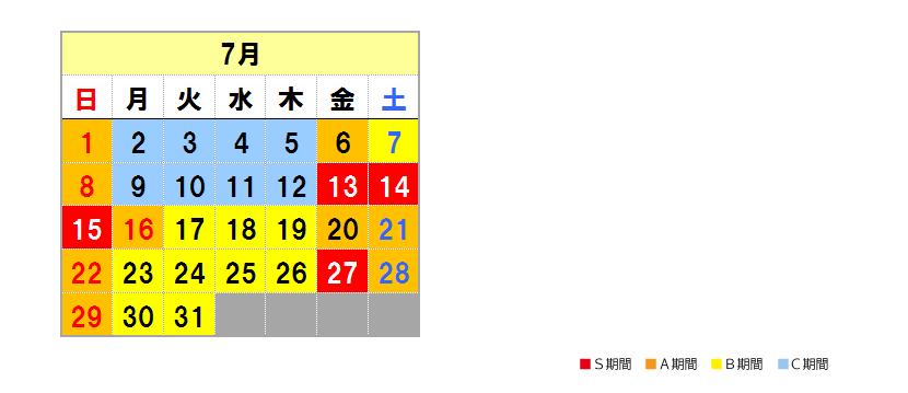 Fares calendar July