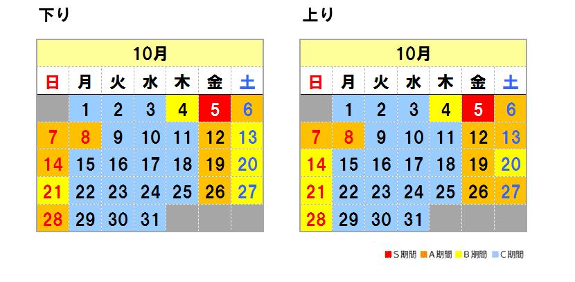 Fares calendar October